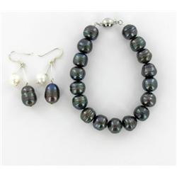 Saltwater Black Pearl with White Pearl Accent Bracelet & Earring Set (JEW-1521)