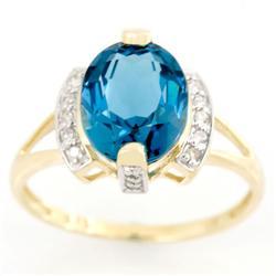 2.86Ct Huge London Blue Topaz & 16 Diamond 9K Gold Ring (JEW-9154X)