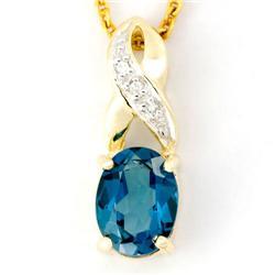 1.83Ct London Blue Topaz & Diamond 9K Gold Pendant (JEW-9156X)