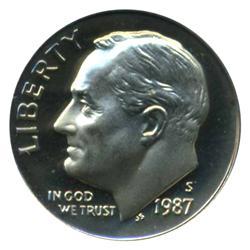 1987S Roosevelt Dime Graded PR68 DCAM (COI-4559)
