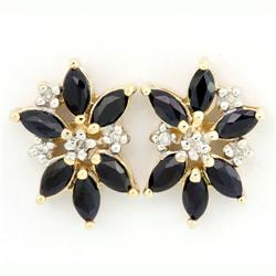 1.52Ct Black Sapphire & Diamond 9K Gold Earrings (JEW-9167X)