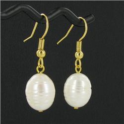 Saltwater Baroque White Pearl Earrings (JEW-250J)