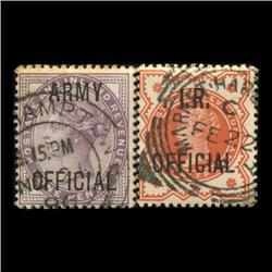 1882 & 1896 RARE British .5p Victoria Official Stamp Set Hi Grade (STM-0044)