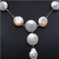 Golden & White Flat Pearl Necklace Earrings  (JEW-262)