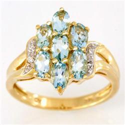 2.14Ct Natural Aquamarine & Diamond 9K Gold Ring (JEW-9148X)