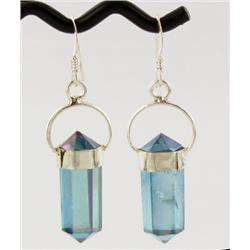 30ct Aqua Aura Clear Quartz Crystal Earringst Super Sparkler With Sterling (JEW-1719)