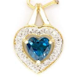 1.05Ct Heart London Blue Topaz & Diamond 9K Gold Pendant (JEW-9025X)