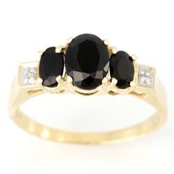 2.84Ct Black Sapphire & Diamond Ring Yellow 9K Gold (JEW-9136X)