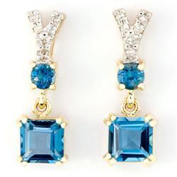 2.12Ct London Blue Topaz & Diamond 9K Gold Earrings (JEW-9138X)
