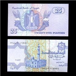 1990 Egypt 25 Piastres Crisp Uncirculated Note (COI-4568)