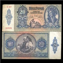 1941 Hungary 20 Pengo Note Hi Grade Scarce (CUR-05643)