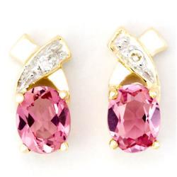 0.64Ct Pink Tourmaline & Diamond 9K Gold Earrings (JEW-9132X)