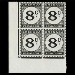 1952 Grenada 8p Postage Due Stamp Block PREMIUM (STM-0619)