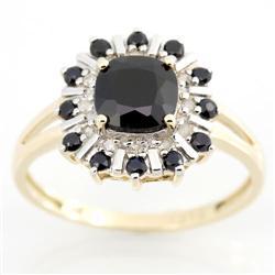 2.44Ct Black Sapphire & 12 Diamond 9K Gold Ring (JEW-9070X)