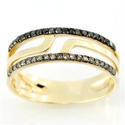0.42Ct 21 Brown & 21 Black Diamond Ring 9K Gold (JEW-9074X)