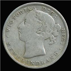 1880 Canada Newfoundland 20c Silver Hi Grade RARE Variety (COI-6764)