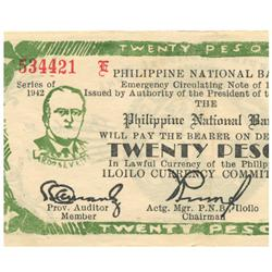 1942 Philippines 20 P Guerrilla Note WW2  (COI-961)