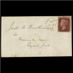 1858 RARE British 1p Red on Cover PREMIUM (STM-0611)