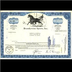 1970s Brandwine Sports Stock Certificate Scarce Horse Style (COI-3325)