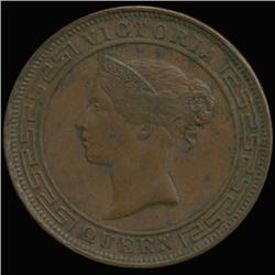 1892 Ceylon Victoria 5 Cent Very High Grade (COI-6940)