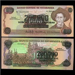 1985 Nicaragua 200000 Cordobas Overprint on 1000 Crisp Uncirculated Note (CUR-05598)