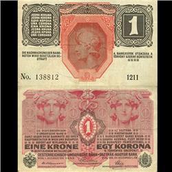 1919 Austria 1 Krone German Occupation Note Hi Grade WW1 (CUR-06120)