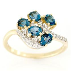 1.22Ct London Blue Topaz & 22 Diamond 9K Gold Ring (JEW-9079X)
