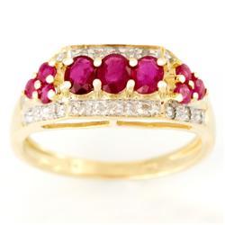 1.50Ct Natural Ruby & 18 Genuine Diamond Ring 9K Gold (JEW-9016X)