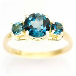 2.20Ct Natural London Blue Topaz Yellow 9K Gold Ring (JEW-9142X)