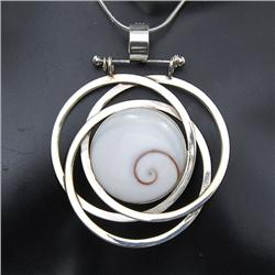 Polished Shell & Sterling Necklace  (JEW-202)