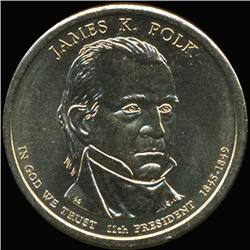 2009P Polk Dollar GEM BU Edge Rare Error Extra Doubled Star (COI-6263)