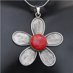 Red Coral & Sterling Necklace Earrings (JEW-190)
