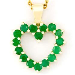 1.12Ct Genuine Natural Emerald 9K Gold Pendant (JEW-9049X)