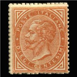 1863 RARE Italy 10c Postal Stamp MINT (STM-0161)