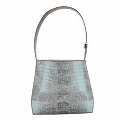 Ladies Light Gray Crocodile Handbag (ACT-089)