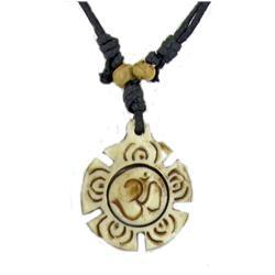Tibet Handcarved Bone Pendant Necklace (ANT-869)
