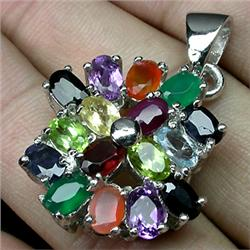 71ct Deluxe Real Top Fancy Multigem Sterling Pendant   (JEW-1856)