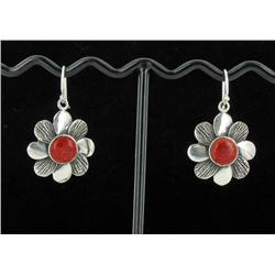 Sterling Red Coral Earrings (JEW-1388)