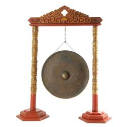 Antique Large Burma Bronze Gong Wood Stand (ANT-363)