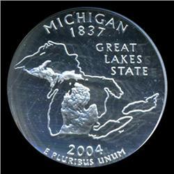2004S Michigan Silver Quarter Graded NGC PR70 DCAM (COI-5473)