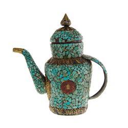 Tibet Antique Turquoise Covered Tea Pot (ANT-476)