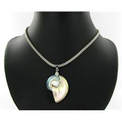 Mother of Pearl 18k White Gold Vermeil Necklace (JEW-1378)