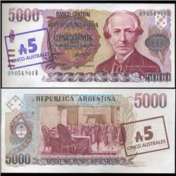 1985 Argentina 5 Australes Overprint Note Crisp Uncirculated (CUR-05563)
