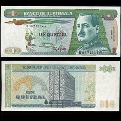 1987 Guatemela Scarce 1 Quetzal Crisp Unc Note (CUR-05712)