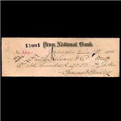 1894 Bank of Ellicottville Cashiers Check (COI-3268)