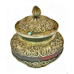 Tibet Vintage Wooden Lidded Pot Layered w/ Hand Tooled Silver (ANT-850)