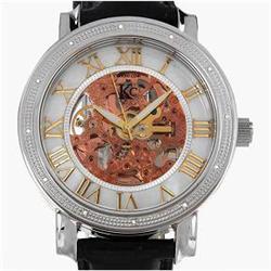 New Techno Com Diamond Bezel Mens Mother of Pearl Skeleton Watch Retail $2745 (WAT-132)