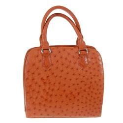 Ladies Brown Ostrich Hide Skin Handbag  (ACT-057)