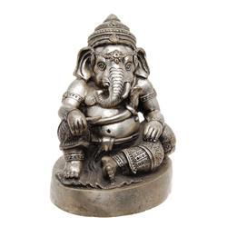 Vintage Ganesh Bronze Nickel Statue  (ANT-615)