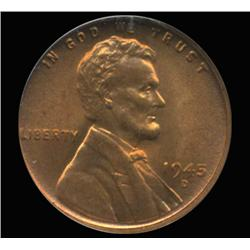 1945D US Lincoln Cent Coin NGC MS67 Red (COI-6413)
